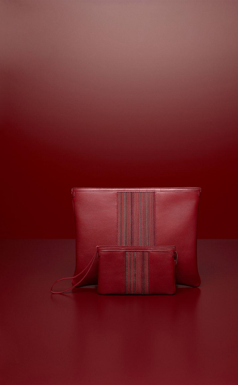 Signature Pochette XL, Polo & Toile de Cuir : Rouge de Pourpre - Signature Clutch, Polo & Toile de Cuir : Rouge de Pourpre